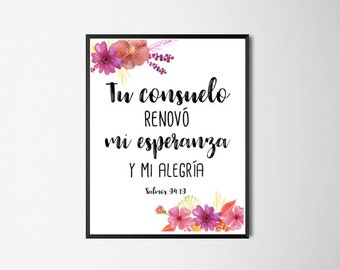 Spanish Bible Verse Print, Psalms 94:19Printable Wall Art, Home Decor, Spanish Quotes, Spanish Printables