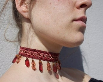 Red Embroidered and Beaded Choker