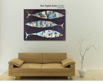 Original Abstract Acrylic Fish Painting, handmade acrylic painting, modern interior decor, fish and ocean wall art, contemporary art