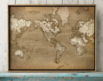 WORLD MAP Print in Aged Brownish Tones, Old World Chart, Astronomy Print, Old School Map, World Map Poster, Wall Decor