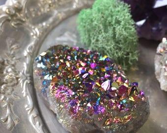 Rainbow Titanium Quartz Crystal Cluster - 99g Crystal Cluster - Rainbow Aura Crystal Cluster - Crystal Healing - Crystal Healing -