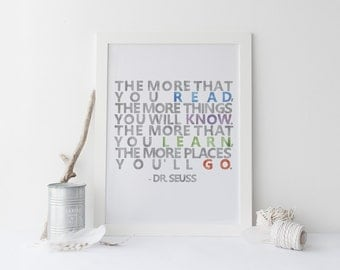 Dr. Seuss Quote Print, Places You'll Go, Playroom Art