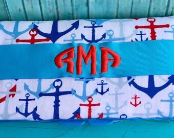 Wipe case, nautical wipe case, wipe case with monogram, wipe case personalized