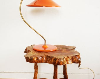 Orange French ceramic and brass Earth of Hautaniboul the original lamp