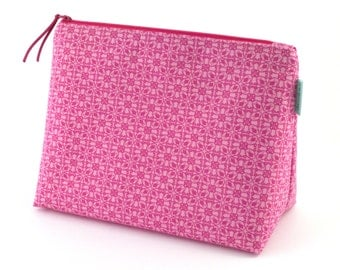 Toiletries bag Large zipper pouch Pink geometric zippered pouch Large makeup bag Gift for mum
