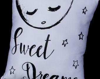 black and white sweet dreams kids throw pillow