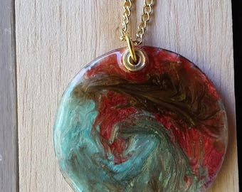 Fireswamp necklace; resin pendant and chain