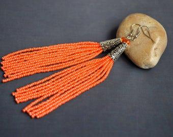 Summer party jewelry Long africa tassel earring Halloween earring Orange boho tribal seed beaded earring Teen girl earring Hippie earrings