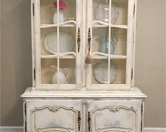 Painted White and Gray Antique French Provincial China Cabinet Solid Wood