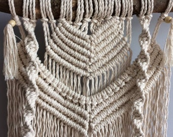 Double Macrame wall hanger Boho-Style hand made in own design of struck 4 mm macrame cord and stick from the nature. Made with love.