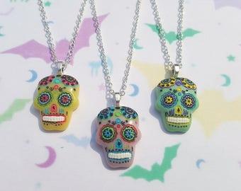 Sugar skull necklace, Sugar skull pendant, Pendant necklace, Day of the dead, Skull, Mexican, Día de Muertos, Sugar skull