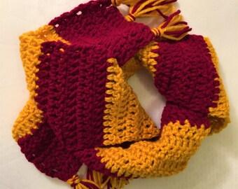 Crochet Harry Potter Scarf, Hogwarts Houses, Gryffindor Scarf, Slytherin, Ravenclaw, Handmade, Baby Harry Potter costume, Newborn, Hermione