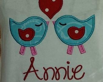 Love Birds Valentine Applique Design/ Personalized Valentine Shirt/ Valentine Applique/ Valentine Design/ Girls Shirt/ Bird Applique Design