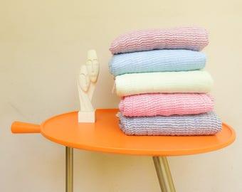 Summer pestemal Turkish pestemal towel Thin pestemal Organic boho towel Light blue pestemal Beach fouta towel Gift for men Gift for women