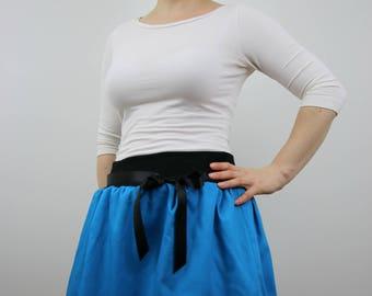 Crazy cat design, blue skirt, women skirt, bubble skirt, summer skirt, embroidered skirt, elastic waist skirt, midi skirt, mini skirt