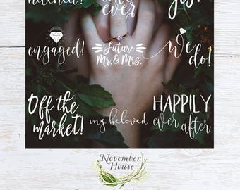 Photo Overlays for Engagement Photos, Engaged Overlays, Wedding Photography Marketing, Social Media Overlays, Instant Download