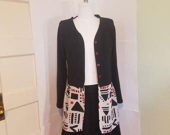 Organic cotton cardigan, mixed-media cardigan, contrast cardigan, black cardigan, silk cardigan, organic cotton tunic, silk tunic