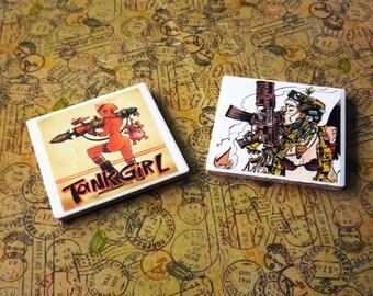 Tank Girl themed handmade tile coasters set of 2