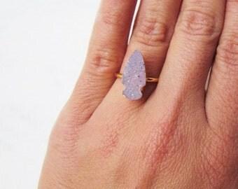 Arrowhead Druzy Ring - Gold Gemstone Jewelry