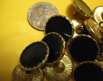 17 metirc buttons black gloss effect face with gold coloured rim edging free shipping in u s a