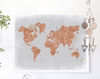 Copper Wall Art, Rose Gold World Map Poster Grey and Copper Home Decor Rose Gold Foil Print Glitter Map, Glitter Nursery Print, Office Decor