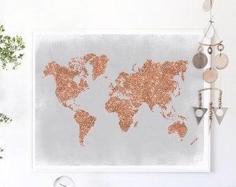Copper Wall Art, Rose Gold World Map Poster Grey and Copper Home Decor Rose Gold Foil Print Glitter Map, Glitter Nursery Print, Office Decor