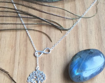 Tree-Of-Life with Infinity Necklace - Sterling Silver