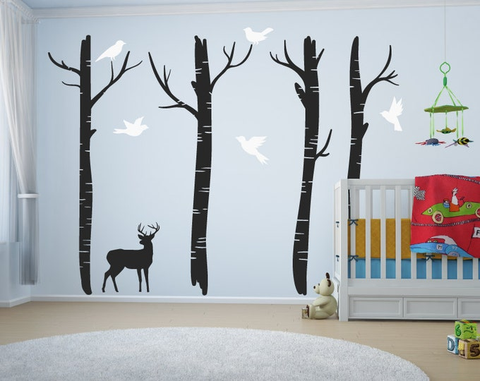 Featured listing image: Large Nursery Tree Wall Decals With Deer & Birds/Tree Wall Art Decal/Stickers For Children - Home Decor