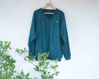 Vintage V-Neck Pull Over Waterproof Jacket - Size Extra Large
