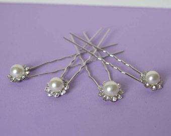 Wedding Bridal Hair Pins Pearl Flower Shape with Crystal Rhinestones Set of 4 Elegant Hair Pins, Proms, Weddings,