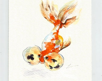 Goldfish ORIGINAL Watercolor Painting Gold Fish Nursery Art Illustration Animal Hand Painted Small Wall Decor 5x7