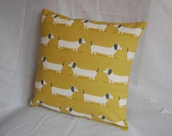 "Handmade 16""x16"" Dachshund Cushion Cover, Sausage Dog Cushion, Weiner Dog Cushion, Doxie Dog Cushion"