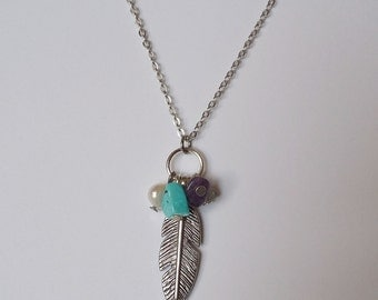 Feather Necklace and Pendant with Fresh Water Pearl and Amethyst