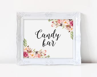 Candy bar sign PRINTABLE, floral wedding sign, floral wedding candy buffet sign, floral wedding dessert table sign, party sign, VF1