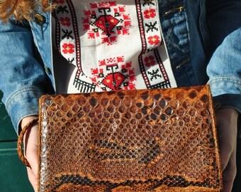 Snakeskin shoulder bag, snakeskin purse, leather bag, vintage leather bag, womens leather bag, leather shoulder bag, vintage leather purse