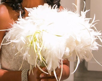 Ivory and Lime Bridal Feather Bouquet