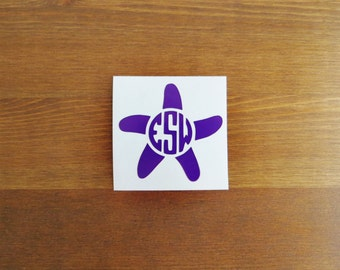 Starfish Initial Monogram Vinyl Decal // Choose Your Color, Size, and Initials