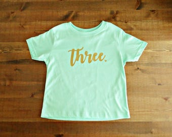 Birthday Age Kid's T-Shirt with Heart - Choose Your Color and Size