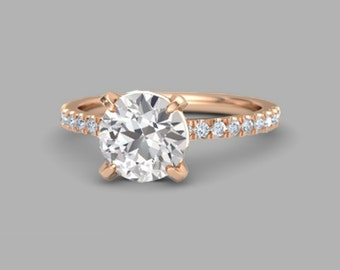 white sapphire rose gold engagement ring.2 carat White sapphire ring.Rose gold Engagement ring. white Sapphire Ring|Sumuduni Gems