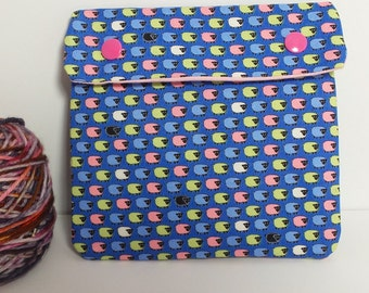 Circular Needle Case or Notions case for Knitting/ Crochet/ Fiber Arts/ Sewing; Sheep print