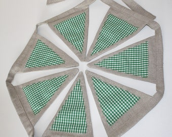 Bunting • rustic country style bunting in a soft hessian style cotton fabric with green/white gingham centres • large flags • 20cm drop