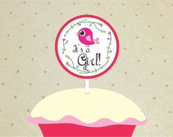 Printable Baby Shower Cupcake Toppers for Girls. Bird Cupcake Toppers Baby Shower Girl. It's a Girl.