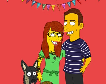 Custom Simpsons, Simpsons Portrait, Anniversary Gift, Couple Gift, Custom Portrait, Couple Portrait, Custom Caricature, Gift Idea, For Him