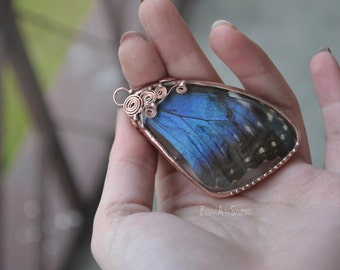 Real Butterfly Wing Necklace, Blue Butterfly Necklace, Blue Morpho Necklace, Insect Jewelry,  Stained glass pendant, Tiffany pendant, Boho