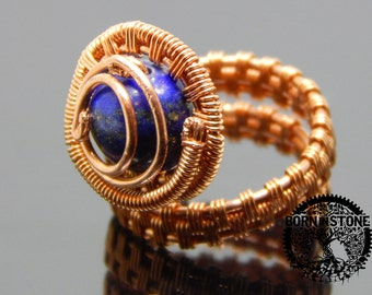 Wire wrapped ring Copper ring Steampunk ring Lapis lazuli ring Wire wrap Boho ring Gemstone ring Magic ring Best gift For her For mom