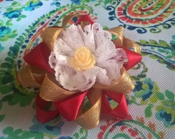 Red, Gold and Lace Flower on a Barrette