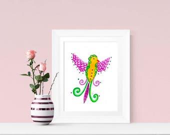 Bird Print, Bird Art, Bird Illustration, Fantasy Bird, Fantasy Art, Fantasy Print, Fantasy Bird Art, Original Art Print, Fantasy Artwork