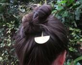 Geometric hair slide - gold hair pin - boho hair clip - bohemian hair accessories - gift for her - bun pin - birthday gift - barrette -MAREI
