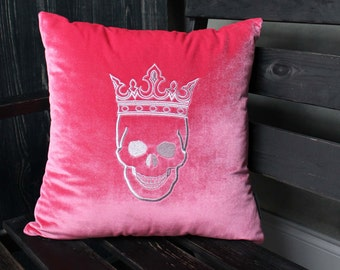 Pillow with Crowned Skull