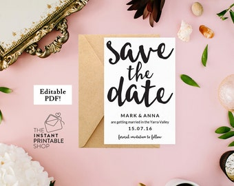 Save the date template, Printable save the date printable, Save the date cards, Rustic save the date rustic, Boho save the date cards